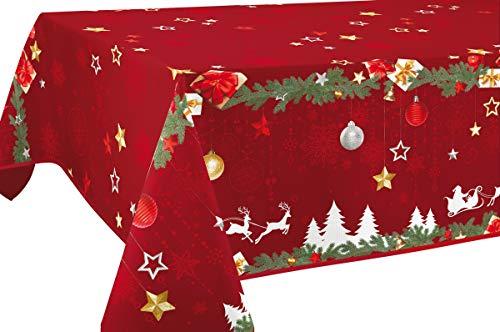 Le linge de Jules Nappe Anti-Taches Noël Rouge - Taille : Rectangle 150x240 cm