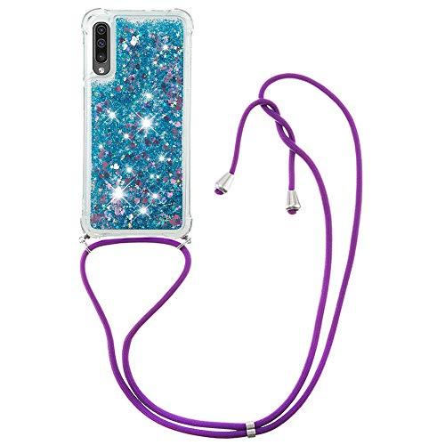 MRSTER Funda con Cuerda para Samsung Galaxy A30s, Bling Glitter Líquido Carcasa Moda Ajustable Collar Correa Protección Case para Samsung Galaxy A30s / A50. LP Love Blue