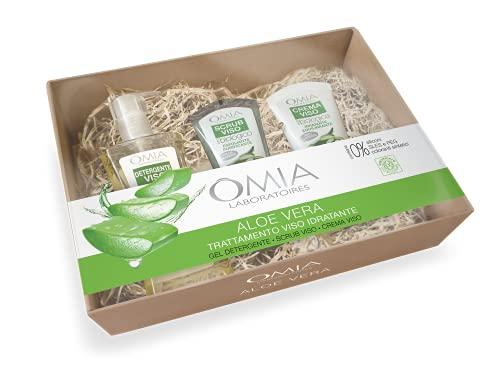Omia - Beauty Box Viso Aloe Vera, Confezione Regalo Skin Care con Crema Viso, Detergente e Scrub Viso, Ottimale per Pelle Mista e Grassa, Dematologicamente Testato