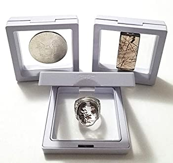 JM Set of 3 pcs Transparent 3D Floating Frame Display Holder/Box/Frames for Challenge Coins AA Medallions Antique Jewelry,Gift White 2.75 x 2.75 x 0.75 Inches