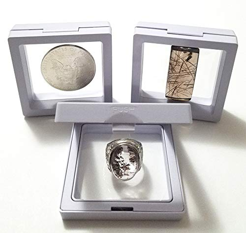 JM Set of 3 pcs Transparent 3D Floating Frame Display Holder/Box/Frames for Challenge Coins, AA Medallions, Antique, Jewelry,Gift, White, 2.75 x 2.75 x 0.75 Inches