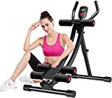 ETHY Abdominal Trainer, AB Workout Machine Foldable Core Waist Trainer Crunch Coaster Roller Glider with Adjustable Resistance & LED Display for Women Men Home Gym Workout