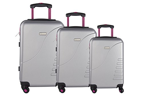 3 Maletas rígidas PIERRE CARDIN plata 4 ruedas cabina para viajes