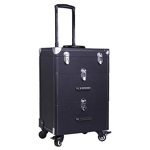 Extra Lager - Valise à roulettes en cuir de luxe pour maquillage et coiffure, noir