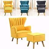 MWPO Sessel mit Fußschemel Gelber Leinenstoff Gelegentliche Akzentstühle Atemberaubender Shell Wingback Wannenstuhl mit Holzbeinen für Wohnzimmer Schlafzimmer Lounge von (Gelb)