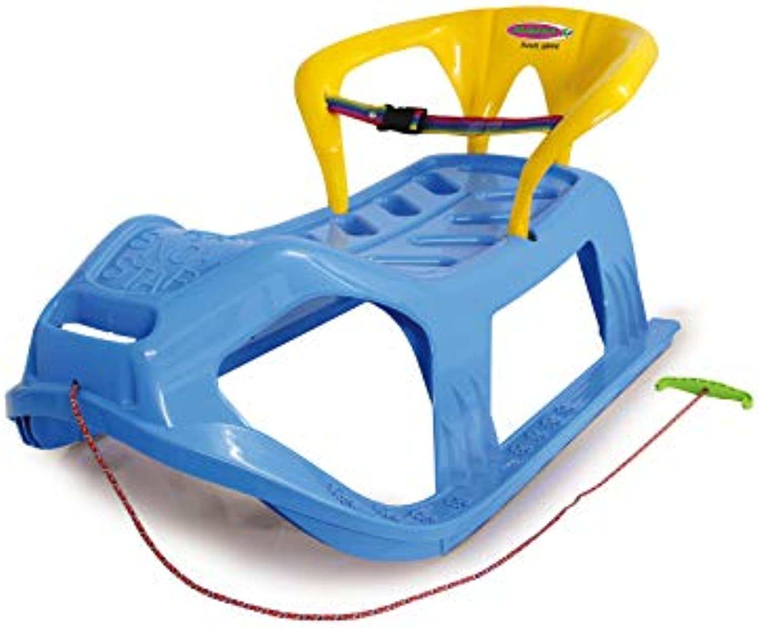Jamara 460367 460367Snow Play Sled SnowStar 90cm Metal Runners, Predection Against Tipping, Backrest incl. Safety Strap, bluee