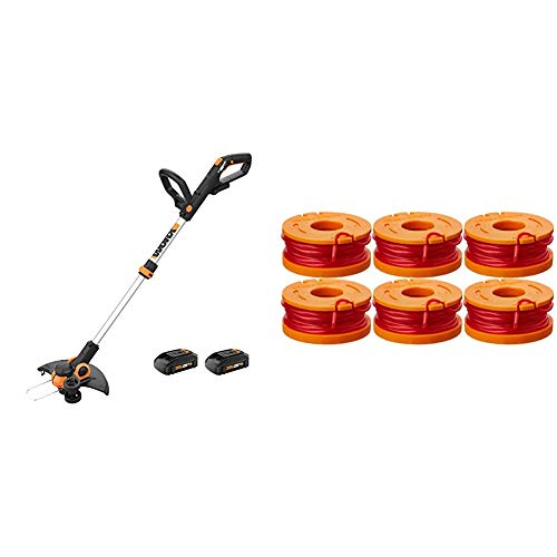"""WORX WG163 GT 3.0 20V PowerShare 12"""" Cordless String Trimmer & Edger, 12in & WA0010 6-Pack Replacement Trimmer Line for Select Electric String Trimmers"""