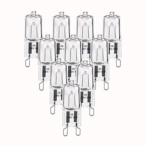 Dehobo 10 x Bombilla Halogena G9 33W Blanco Cálido, G9 Halogena Transparente 480LM 230V Regulable