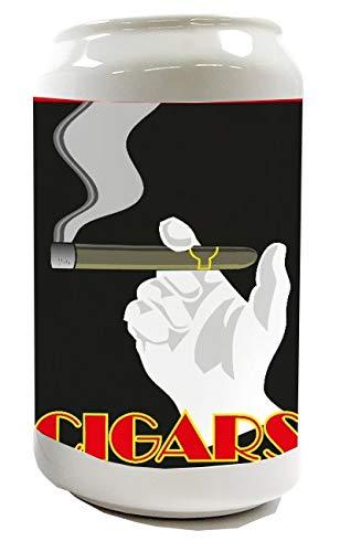 LEotiE SINCE 2004 Spardose Sparbüchse Geld-Dose Wiederverschließbar Farbe Weiß Tabak Cigarre Rauchen Keramik Bedruckt