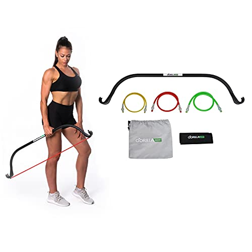 Lite Gorilla Bow Portable Home Gym Resistance Bands and Bar System for Travel, Fitness, Weightlifting and Exercise Kit, Full Body Workout Equipment Set (Lite Bow, Black, Base Bundle)