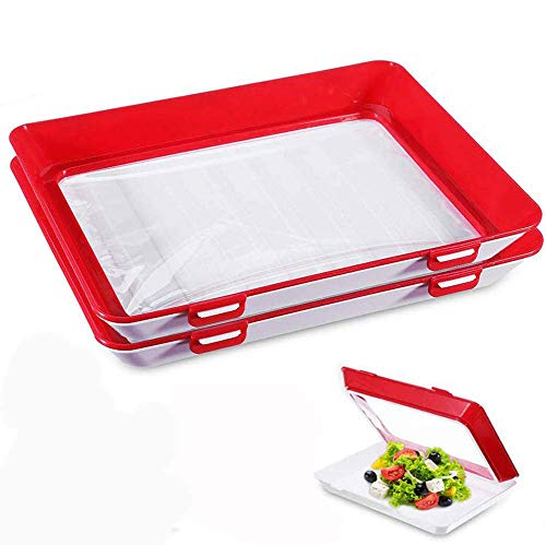 Emoly Food Preservation Tray, 2 Pack Stackable BPA Free Plastic Food Storage Container with Elastic Reusable Locking Lid for Refrigerator and Freezer Flat Food (Red)