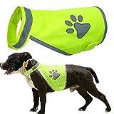 YUESEN Chaleco Seguridad Mascotas Chaleco Reflectante Perro de Alta Visibilidad Verde Fluorescente con Correa Ajustable Noche Proteger a Tu Mascota L