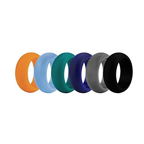 Gogo Anillos de Boda de Silicona Premium para Hombre 9 mm de Ancho 3 mm de Espesor Alianzas de Boda Flexibles Ideal para Deportes o al Aire Libre 6 Piezas Assorted-13