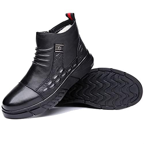 FUDAGJ Zapatos de hombre para hombre de invierno cálidos, zapatos de tobillo de cuero casual, zapatos clásicos para el trabajo al aire libre
