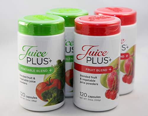 Juice Plus+ Fruit & Vegetable Blend - 4 Pack (120 Capsules/Bottle) - 4 Month Supply
