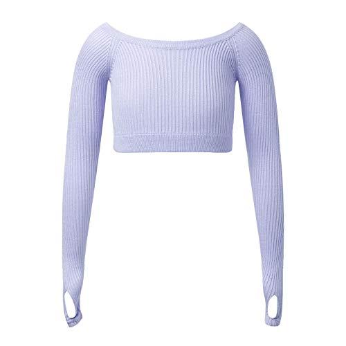 inlzdz Crop Top de Danza Ballet para Niña Camiseta Corta Deportiva Manga Larga para Gimnasia Rítmica Yoga Baile Traje de Bailarina Morado 3-4 años