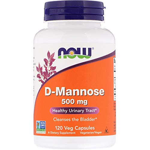 NOW Foods D-Mannose 500 mg, 120 Vegetable Capsule (2 Pack)