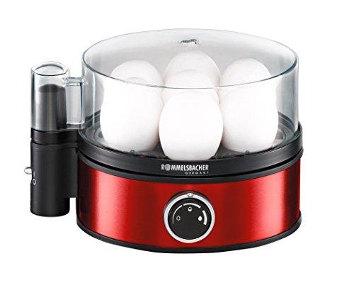 ROMMELSBACHER Eierkocher ER 405/R - für 1-7 Eier, einstellbarer Härtegrad, elektronische Kochzeitüberwachung, Ein/Ausschalter, Signalton am Kochzeitende, Edelstahlgehäuse, 400 Watt, metallic-rot