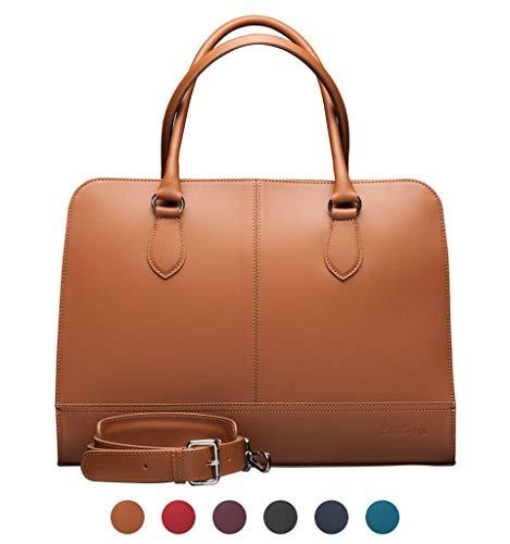 Su.B 15,6 Zoll Laptoptasche mit Trolleyband Fuer Damen - Spaltleder - Aktentasche, Laptop Handtasche, Umhaengetasche - Made in Italy - Braun