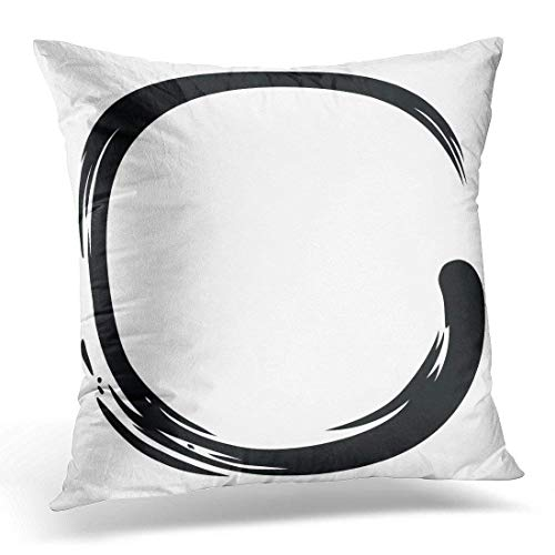 Enso Black Zen Circle Minimalistic Monk Symbol Decorative Pillow Case Home Decor Square 18x18 Inches Pillowcase