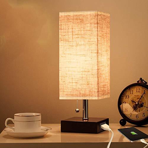Holz Tischlampe USB Ladeanschluss,KINGCOO Vintage Stoffschirm Nachttischlampe mit Zugschalter Stehlampe,E27 Base Warmweiß LED Schreibtischlampe für Wohnzimmer Kinderzimmer Schlafzimmer
