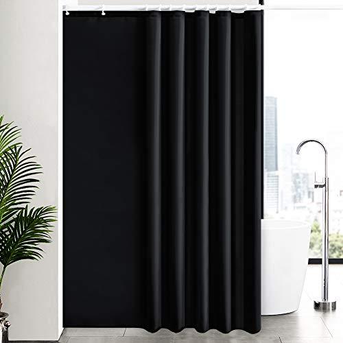 Duschvorhang Überlänge für Badezimmer, Badvorhang Anti-schimmel Textil für Badewanne/Dusche, Vorhang aus Stoff Antibakteriell Waschbar, mit 12 Haken Extra Groß Schwarz 200x240cm.