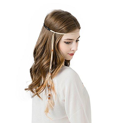 Bohemien Feder Haarband Hippie Haaretragen - Quaste Geflochten Feder Kopfschmuck Leder Seil für Frauen Festival Karneval Boho Haar Zubehör