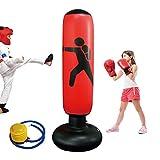 KIKILIVE Sacco da Boxe Gonfiabile per Bambini, Sacchi da Boxe gonfiabili con piedistallo da Boxe, Supporto per Sacco da Boxe Resistente per praticare Karate