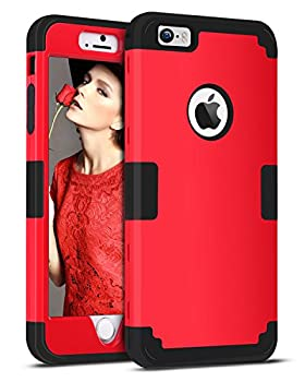 iPhone SE Case iPhone 5S Case iPhone 5 Case BENTOBEN 3 in 1 Heavy Duty Rugged Hybrid Hard PC Soft Silicone Bumper Shockproof Anti-Scratch Case Cover for iPhone 5 5S SE Red/Black