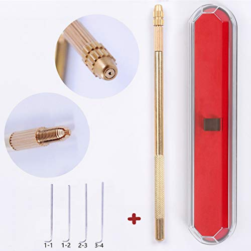 Ventilating Needle for Lace Wig - AliLeader Brass Ventilating Holder And 4 Different Size Stainless Steel Needles (1-1, 1-2, 2-3, 3-4) For Make/Repair Lace Wig Needles