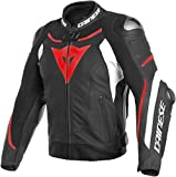 Dainese Super Speed 3 Mens Leather Jacket Black/White/Fluo Red 54 EUR/44 USA