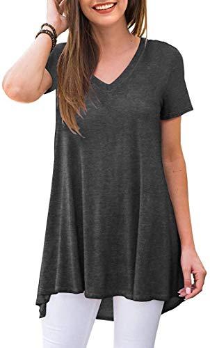 POPYOUNG Women's Summer Casual T-Shirt V-Neck Short Sleeve Tunic Tops for Leggings Loose Blouse Shirt XXL, Dark Grey