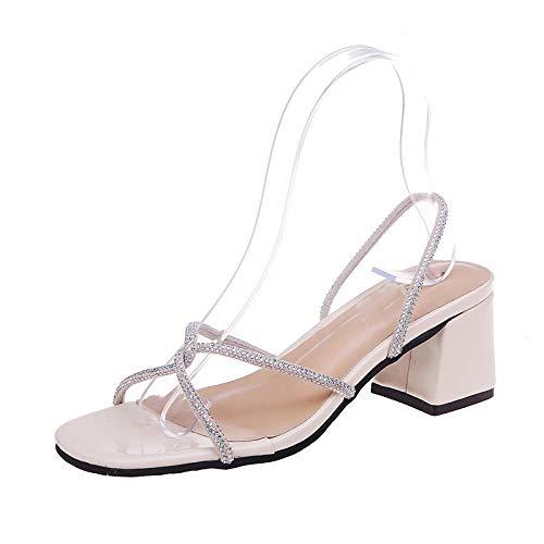 FAYHRH Été Sandales Massages Pantoufles,Portez des Sandales à la Mode à l'extérieur, Talon épais Tout Assorti - Beige_36