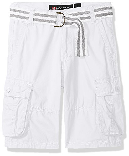Southpole Boys' Big Belted Mini Canvas Cargo Shorts in, White, 12