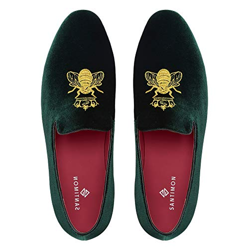 Slipper Herren Mokassin Samt Bequem Flache Fahren Hausschuh Loafer Schuhe Slip-on Grün 44