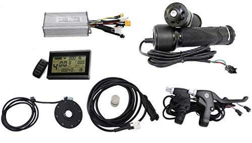 HalloMotor 36V 48V 1000W Brushless DC Sine Wave Controller + 36V 48V LCD Control Panel + Twist Throttle +Brake Lever+PAS + Speed Sensor