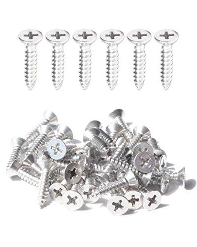 IMScrews, 200 tornillos autoperforantes de acero inoxidable de cabeza plana de 16 mm, 18-8 (304)