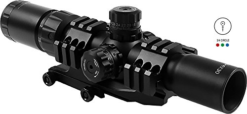 AIM Sports JTHR1 Locking Turrets 3/4 Circle Tri-Illumination CQB Scope, Black, 1.5-4x 30mm