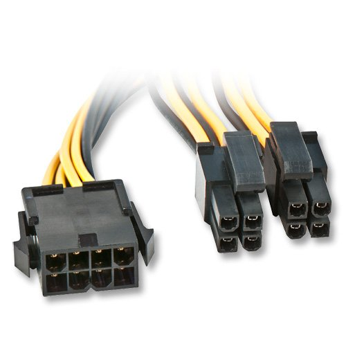 Lindy 33163 Cable de alimentación Interna 0,4 m - Cables de alimentación Interna (0,4 m, EPS (8-Pin), 8-Pin(4+4) EPS12V, Male Connector/Female Connector, Negro, Amarillo)