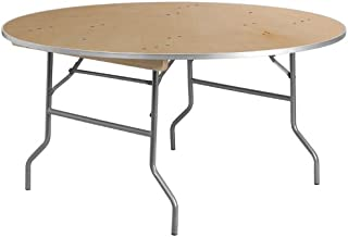 Flash Furniture 60'' Round HEAVY DUTY Birchwood Folding Banquet Table with METAL Edges