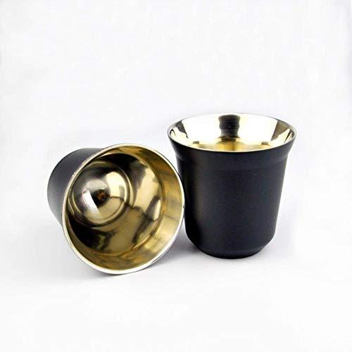 Z-NING Espressotassen 80ml 160ml 2er-Set, Espressotassen-Set aus Edelstahl, isolierte Tee-Kaffeetassen Doppelwandige Tassen Spülmaschinenfest, schwarz 80ml 2PCS
