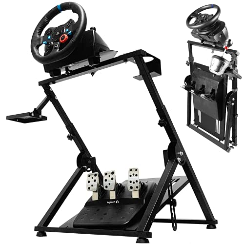 Minneer Racing Simulator Steering Wheel Stand Logitech for G25, G27, G29, G920, G923, T300, T500 Thrustmaster T300RS X PRO Solid Design Gaming Cockpit. Wheel & Pedals Not Included