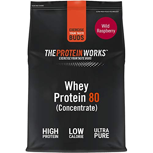 THE PROTEIN WORKS Whey Protein 80 (Concentrate) Powder | 82 Percent Protein | Low Sugar, High Protein Shake | Wild Raspberry | 1 kg