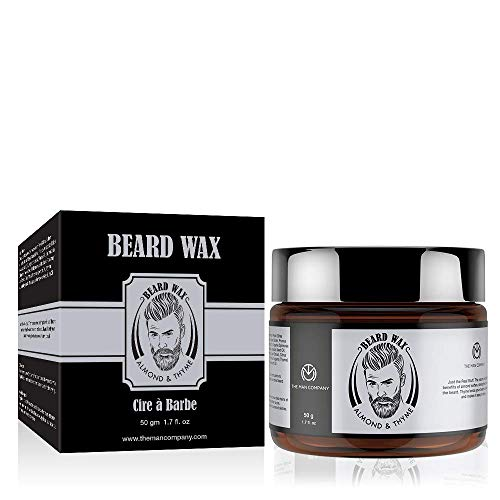 THE MAN COMPANY Beard & Mustache Wax for Men - Organic Moustache & Beard Styling (1.7 oz) - Moisturizing, Frizz Control - Beeswax based with Almond & Thyme Essential Oil - SLS, Paraben free