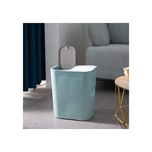 MOAAA Trash Can Rectangle Plastic Push Button Dual Compartment 12Liter Recycling Waste Bin Garbage Can Classified Dustbin,Blue