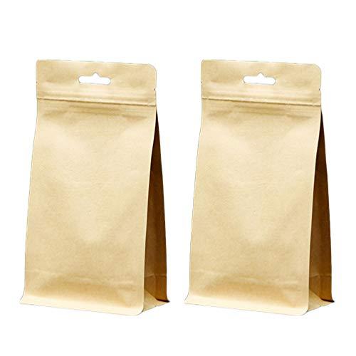 Hemoton 10 Unidades de Bolsas Kraft de Pie Reutilizables Zip Lock Bolsa de Almacenamiento de Alimentos de Sellado Automático para Galletas Frutas Secas Nueces Snack Treat Café Té
