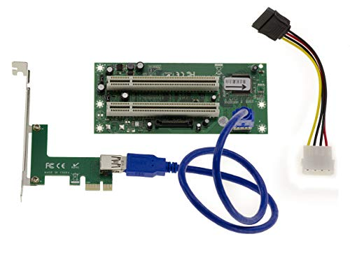 Kalea Informatique - Adattatore convertitore PCI a PCI Express PCIe 1 x – 2 porte – Chipset ASM – collegamento tramite cavo USB 3 50 cm
