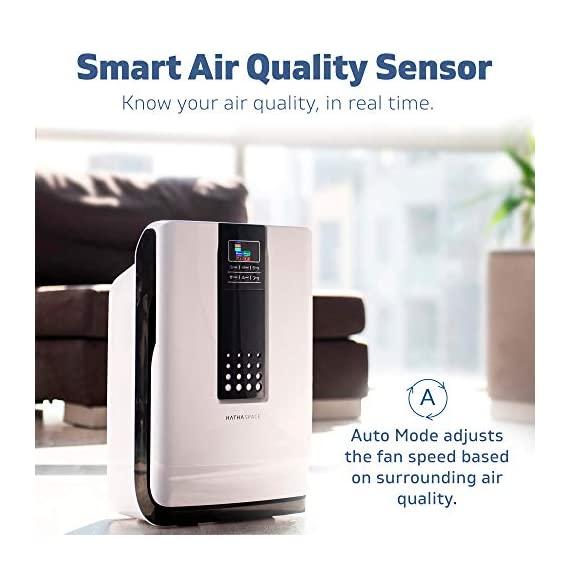 Hathaspace smart true hepa air purifier for home, 5-in-1 large room air cleaner for allergies, pets, asthma, smokers… 6 purify your air: protect your family from home air pollutants like dust mites, pollen, pet dander, pet hair, odors, smoke, and voc's. Our 5-in-1 true hepa air purifier captures particles you can't see, filtering 99. 97% of pollutants as small as 0. 3 microns. Breathe easier: nothing feels better than breathing clean air. Read our 5,000+ reviews and see just how much our air purifier has helped with common allergy symptoms like sneezing, coughing, and irritated eyes. Remove odors, smoke, & voc's: both an air cleaner and odor eliminator, our air purifier features a unique honeycomb activated-carbon filter that absorbs odors, smoke, and voc's. Ozone-safe and fully approved by carb, an anion generator can be separately turned on to target the most stubborn odors like litter boxes, cigarettes, and old homes.