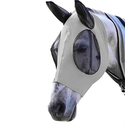 ZLY Horse Fly Mask, Long Nose Fly Mask with Ears, Ergonomics Ear Mesh Fly, Anti UV Mosquito Insects Shield with Breathable and Soft Mesh(Grey)