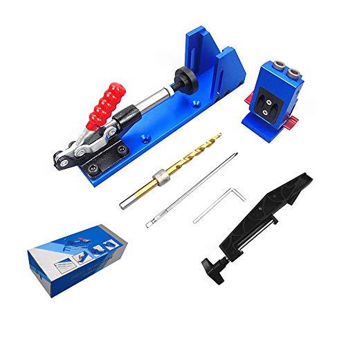 S SMAUTOP Pocket Hole Jig System Kit Justierbar u. Bedienungsfreundlich Tischlerei Holzbearbeitungswerkzeug mit Schnellspanner und Stufenbohrer 10-50mm Für Heimwerkerprojekte